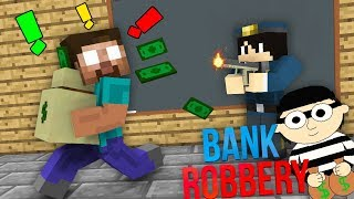 Monster School : BANK ROBBERY & AVM SHORTS - STICKMAN CHALLENGE - Minecraft Animation
