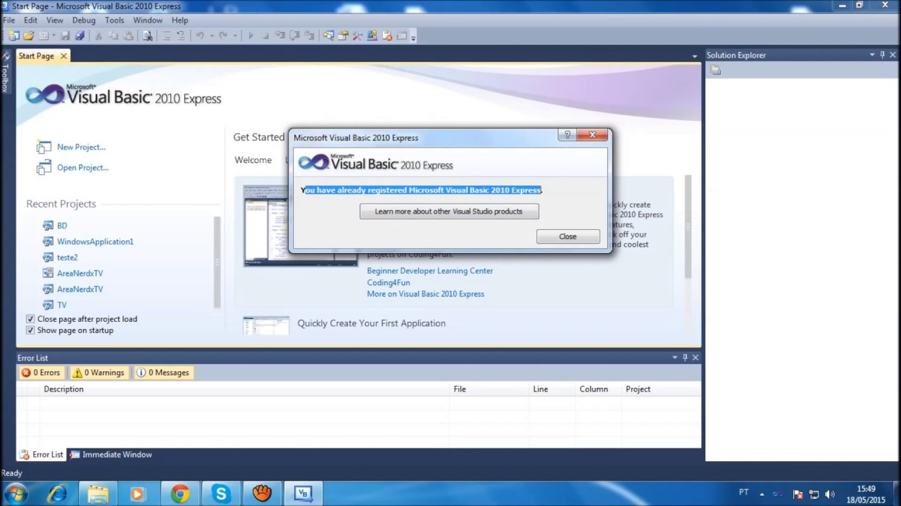 Visual basic 2010 express tutorial 1 getting started hello world.