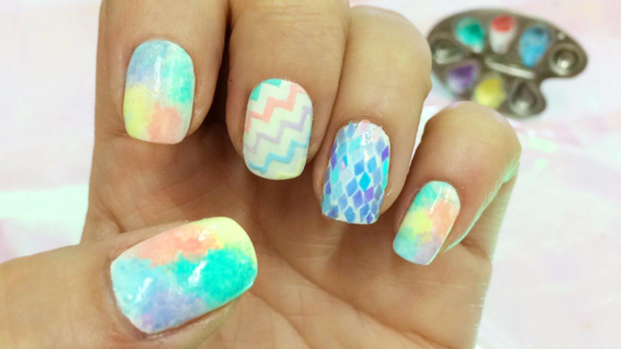 Decoracion de uñas en colores Pasteles - YouTube
