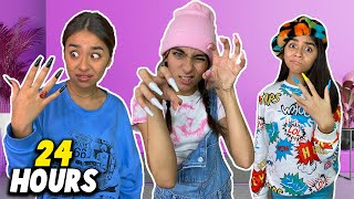 Wearing Long Nails For 24 Hours Challenge | GEM Sisters