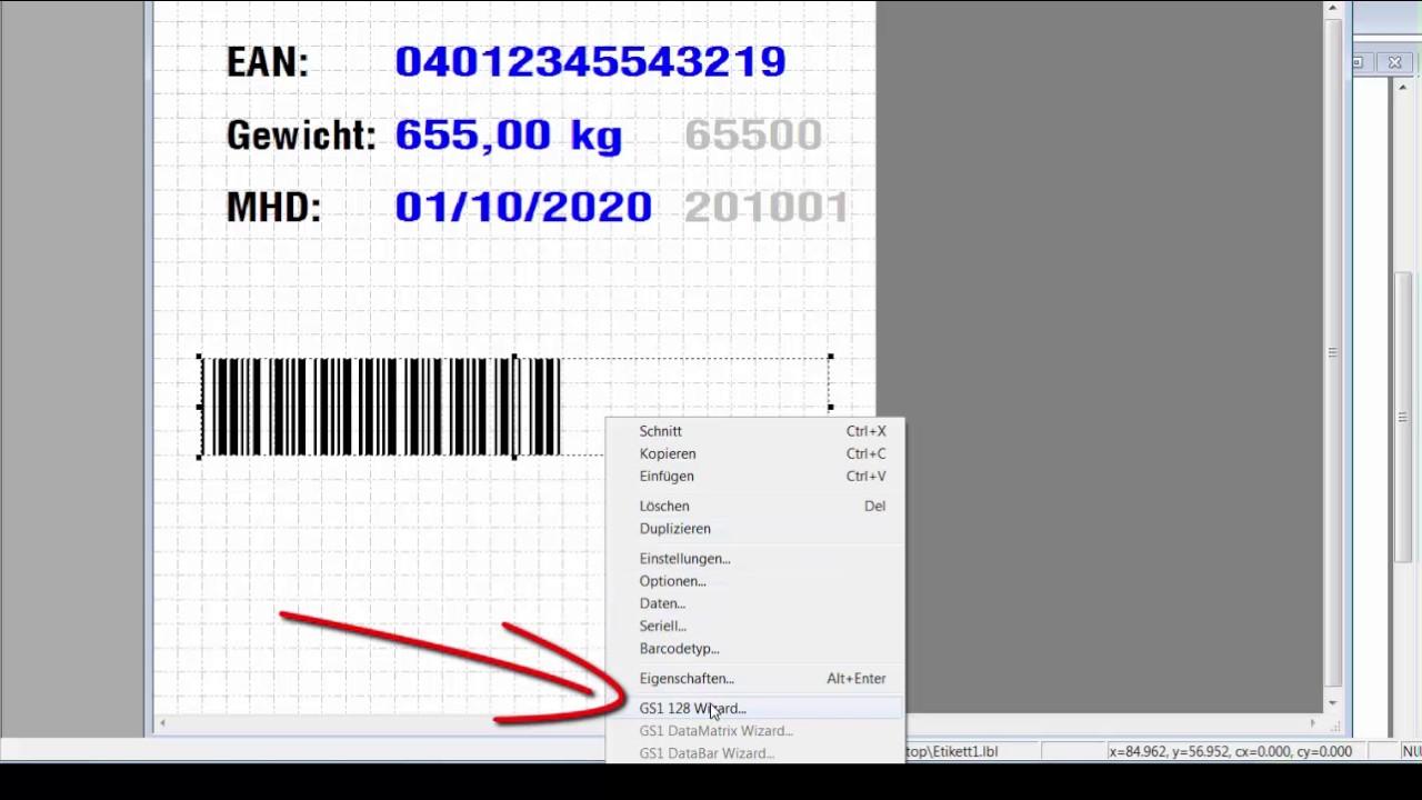LLS Legitronic Labeling Software - so erstellt man GS1 Barcodes mit dem EAN  Wizzard