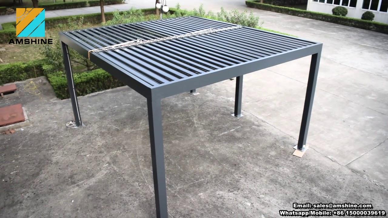 aluminium rain protection motorized pergola gazebo youtube. Black Bedroom Furniture Sets. Home Design Ideas