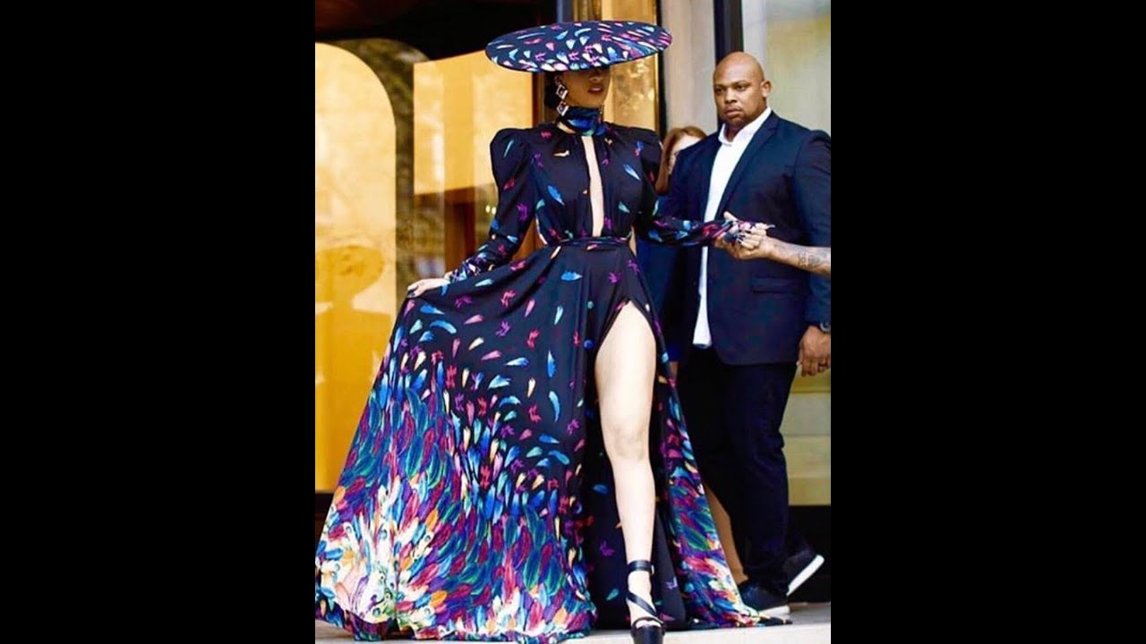 Cardi B Wearing Michael Costello Gitana Collection for Paris Fashion ...
