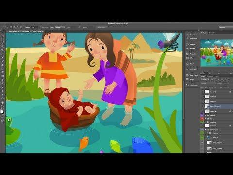 Младенец Моисей. Adobe Photoshop (векторная иллюстрация)