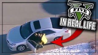 GUY HIJACKS 3 CARS LIKE IN GTA (POLICE CHASE)