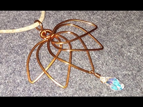 Lotus Pendant With Drop Crystal Wire Wrap Jewelry Design