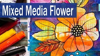 Mixed media Flower Drawing Art Journal Page