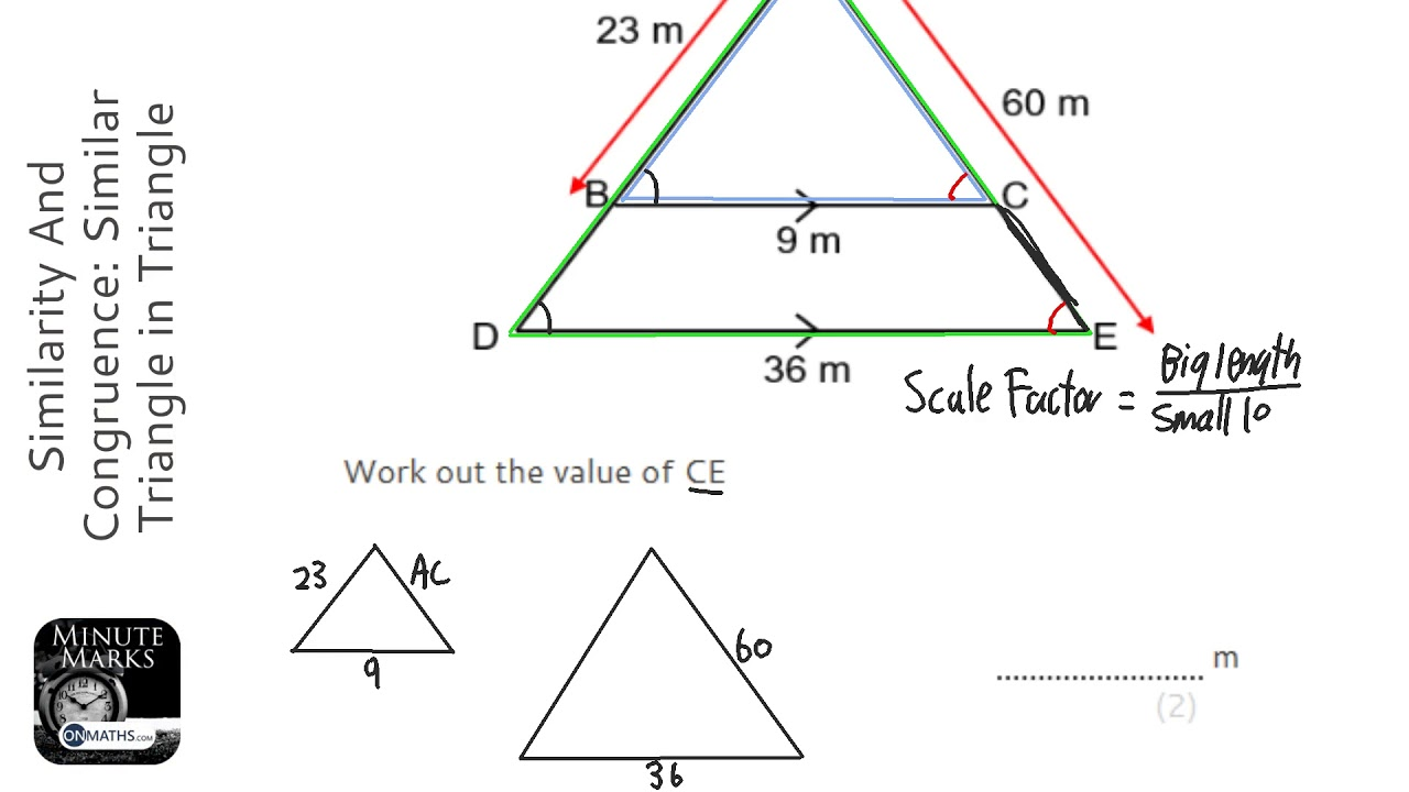 Similarity And Congruence: Similar Triangle in Triangle (Find Smaller) (Grade 5) - Maths Revision