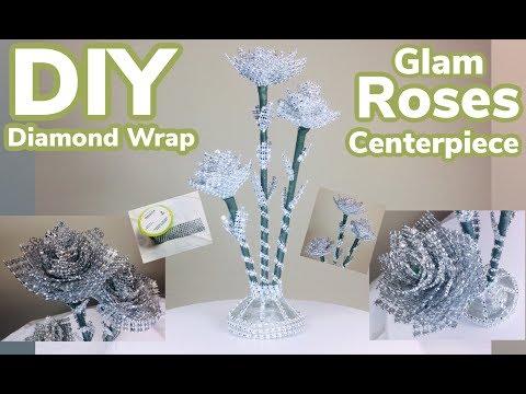 DIY Dollar Tree Diamond Wrap Glam Roses Centerpiece 2019