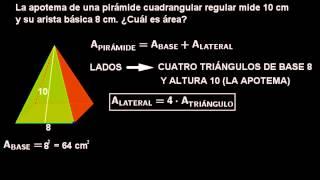 Área de una pirámide de base cuadrada (caso fácil)