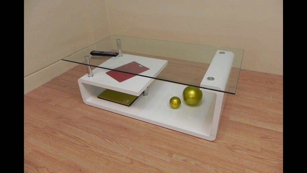 Descatalogado mesa de centro de cristal de dise o blanco - Mesas de centro de cristal ...