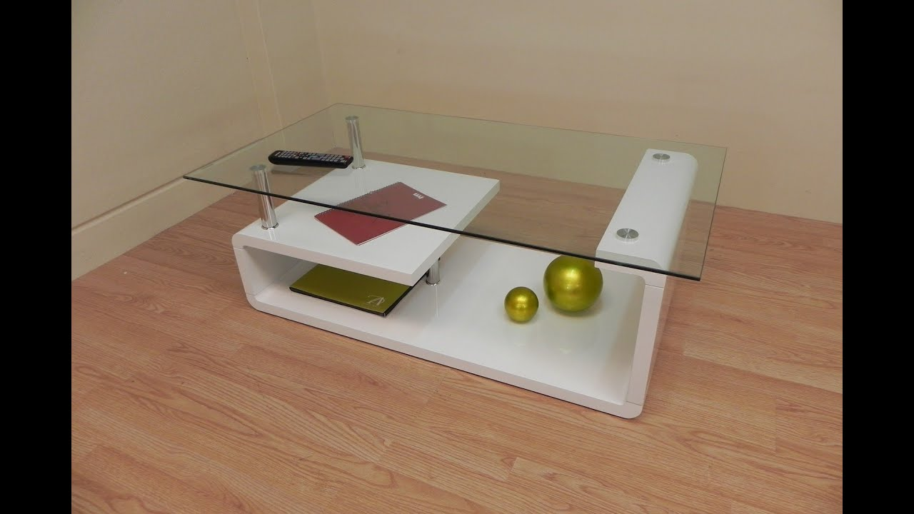 Descatalogado  Mesa de centro de cristal de diseo blanco