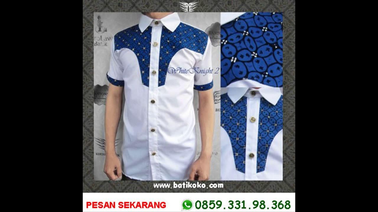 6285933198368 Baju Batik Pria Warna Biru Baju Batik Pria