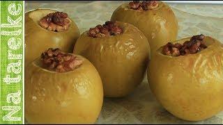 Яблока печеные с мёдом, изюмом и орехами