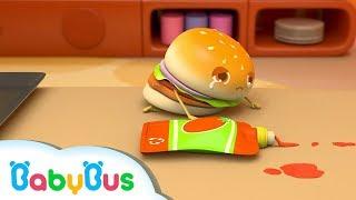 Hamburger Slips down & Cries   Number Songs   Nursery Rhymes   Kids Song   Baby Songs   BabyBus thumbnail