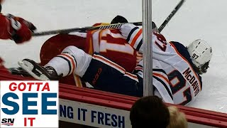 GOTTA SEE IT: Connor McDavid Gets Physical To Incite Battle of Alberta Line Brawl