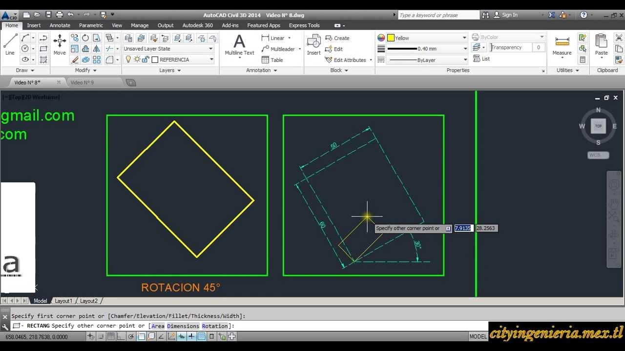 AutoCAD 2014 815 Modos de dibujar Rectangulos  YouTube