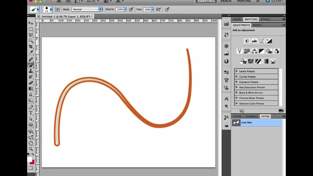 Drawing Lines In Photo Cs : Photoshop beginner tutorial using brush to stroke a path