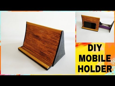 How to make a mobile holder with newspaper || DIY Mobile stand || IRIS Craft Corner 19