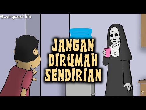 Jangan Di Rumah Sendirian | Animasi Horor Kartun Lucu | Warganet Life