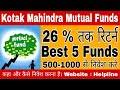 Kotak Mahindra mutual fund | 26.89 तक Return | top 5 kotak mutual funds | mutual fund investment