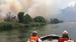 A view of the Substation fire from the Deschutes River