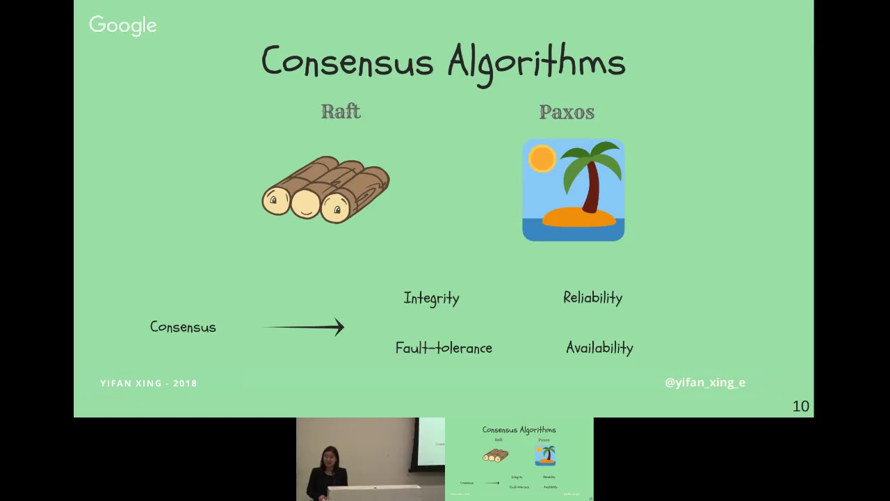 Yifan Xing: Consensus algorithms, Paxos and Raft [Papers We Love BOS, September 2018]