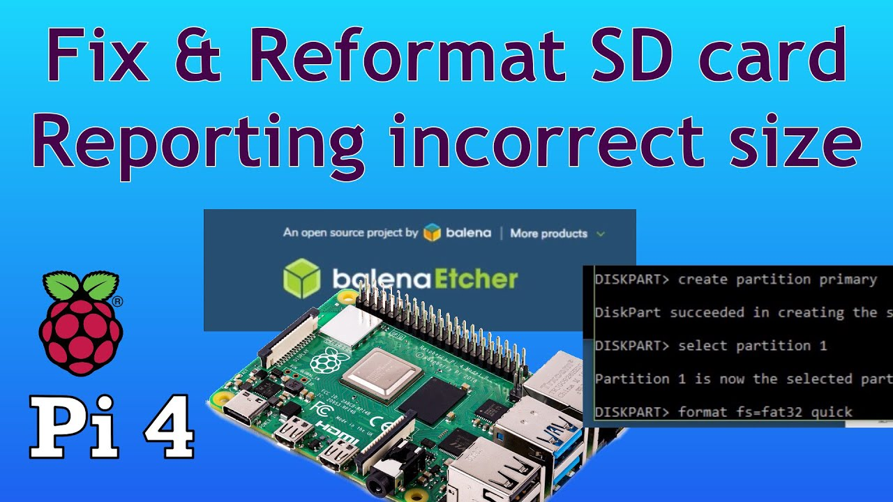 Fix SD card issues  Raspberry Pi 4  SD card reporting incorrect size