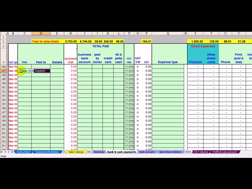Hair Salon Bookkeeping Amp Vat Spreadsheet Youtube