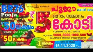 Kerala Pooja Bumper BR-76 Lotery Result 15.11.2020