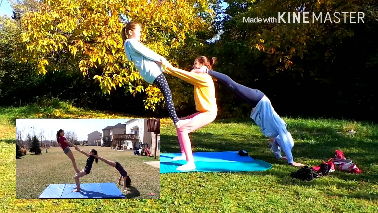 3 person stunts and yoga challenge - YouTube