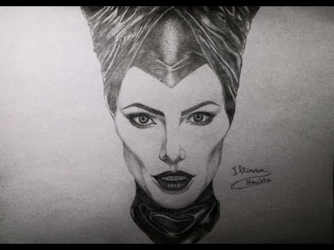 Drawing Maleficent (Angelina Jolie) - YouTube
