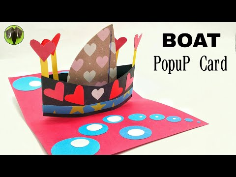 Boat Bouquet Popup Card - Valentine heart theme - DIY | Scrapbook | Tutorial by Paper Folds - 816