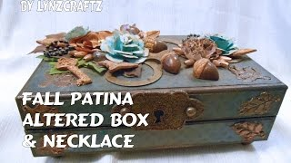 """fall Patina"" Altered Jewelry Box & Polymer Clay Necklace"