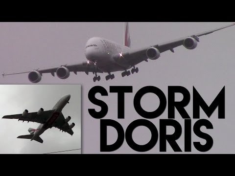 Emirates A380 Crazy Aborted Landing | STORM DORIS