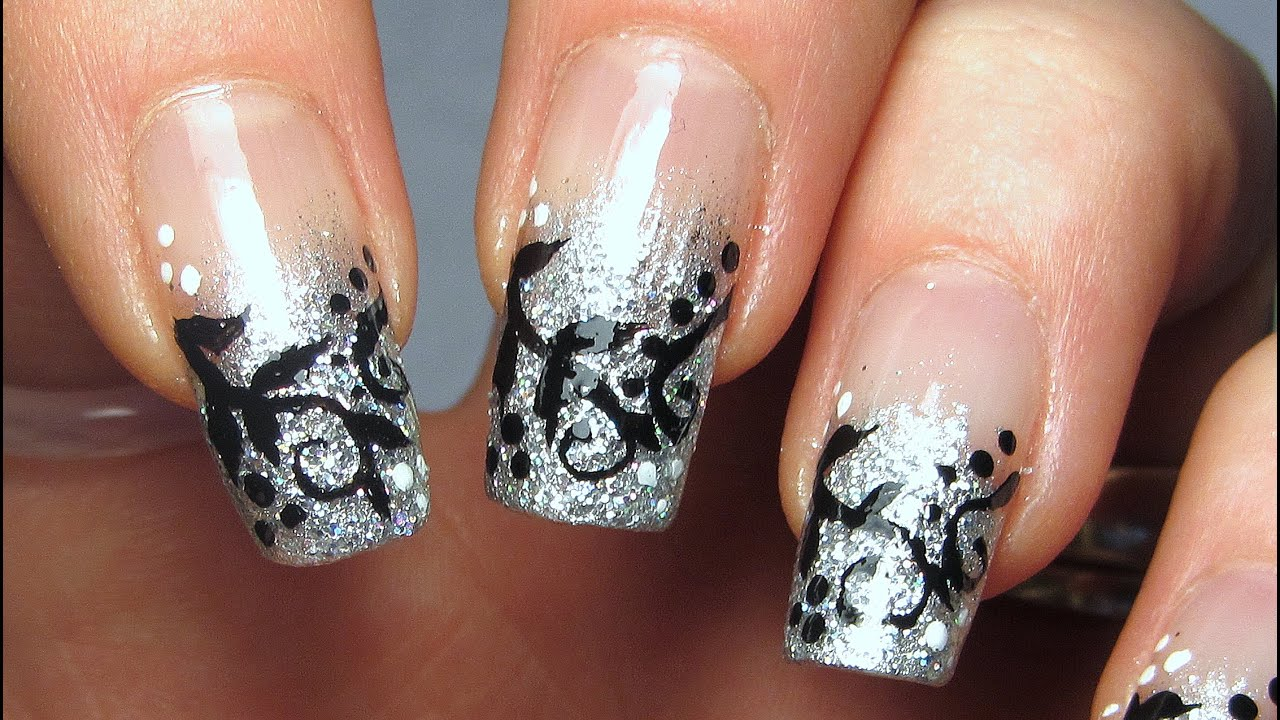 Silver Glitter Tips with Black Vines Design Nail Art Tutorial - YouTube