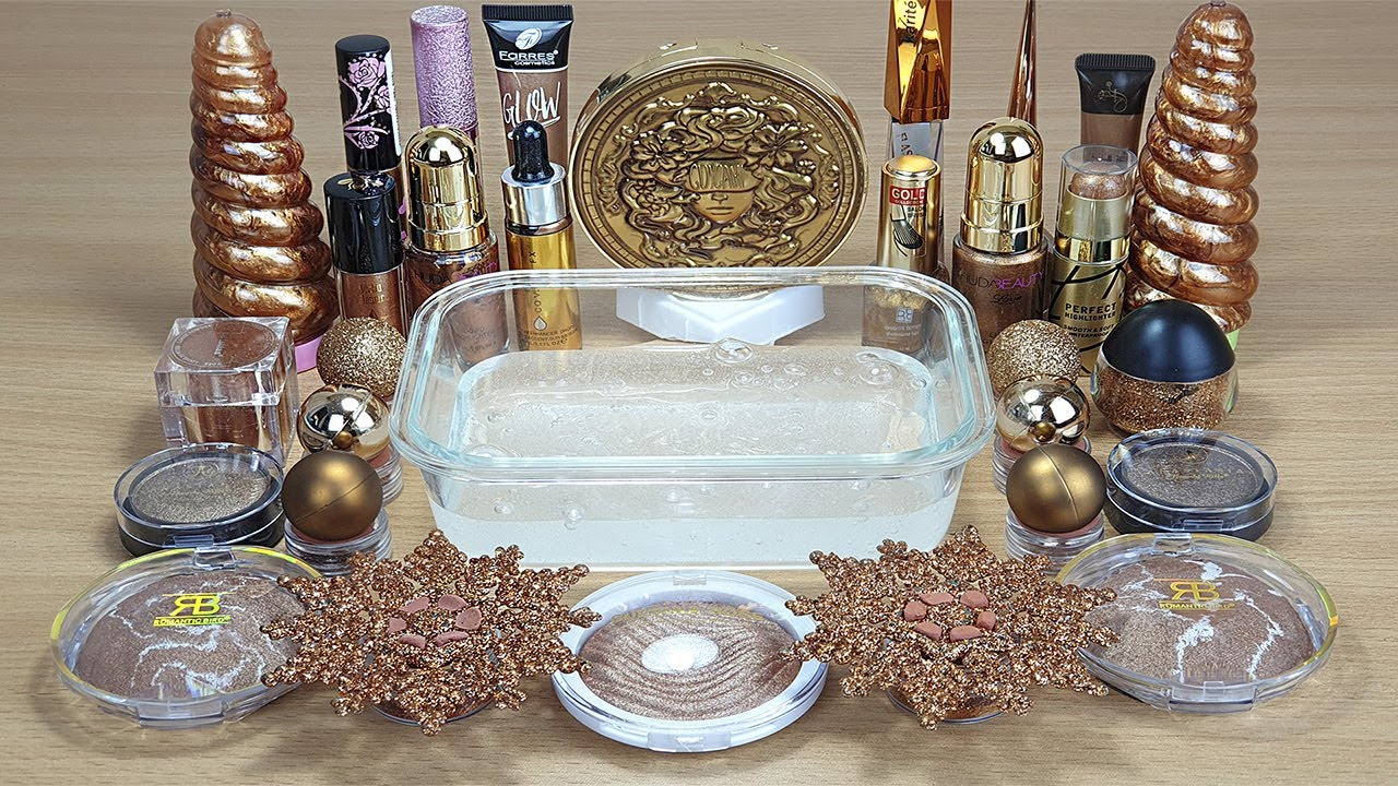 BRONZE SLIME Mixing makeup and glitter into Clear Slime Satisfying Slime Videos