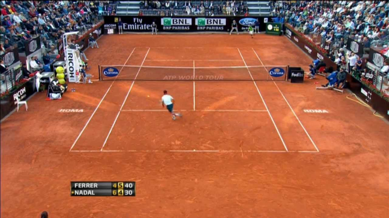 Ferrer's Hot Shot Defence Wins Rome Set Vs. Nadal - YouTube