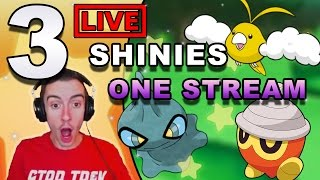 🔴 3 LIVE SHINIES IN ONE GAME!!! - POKEMON SUN/MOON & ORAS LIVESTREAM