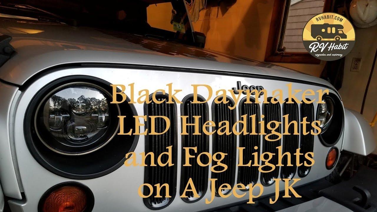 Jeep Jk Headlights >> Jeep Wrangler Jk Black Daymaker 7 Led Headlights Cree Fog Lights