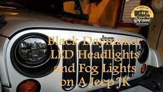 "Jeep Wrangler JK Black Daymaker 7"" LED Headlights / Cree Fog Lights - How to Install and Review"