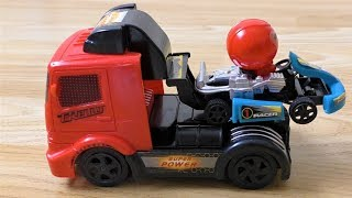 TRUCK WITH RACING CAR TOY VIDEO FOR KIDS
