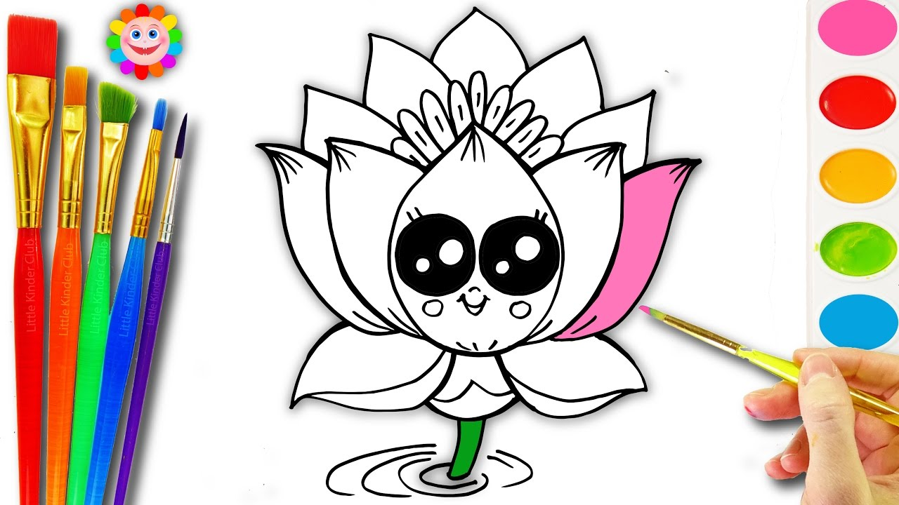 Learn How To Draw A Cute Lotus Flower