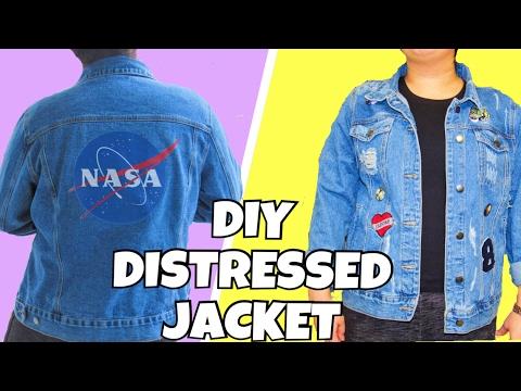 Diy Distress Denim Jacket Easy Tumblr Jean Jacket Itsjustlilly