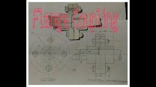 How to draw flange copling assembly drawing.