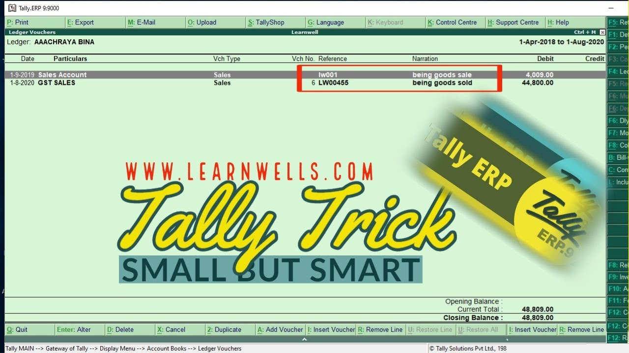 Tally ERP9 Tricks | Small but Smart Trick | 13| @Learn Well  | Ledgers