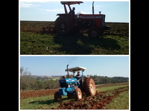 tractor ford 6610 turbo vs massey ferguson 275 puxando escarificador 5 astes/tractor pulling plow