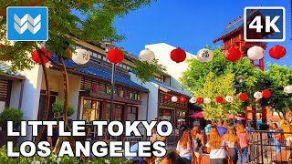 Walking tour of Little Tokyo in Downtown Los Angeles, California 4K