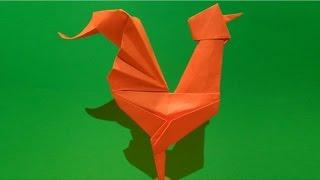 Как сделать  ПЕТУХА из бумаги. Оригами ПЕТУХ ИЗ БУМАГИ