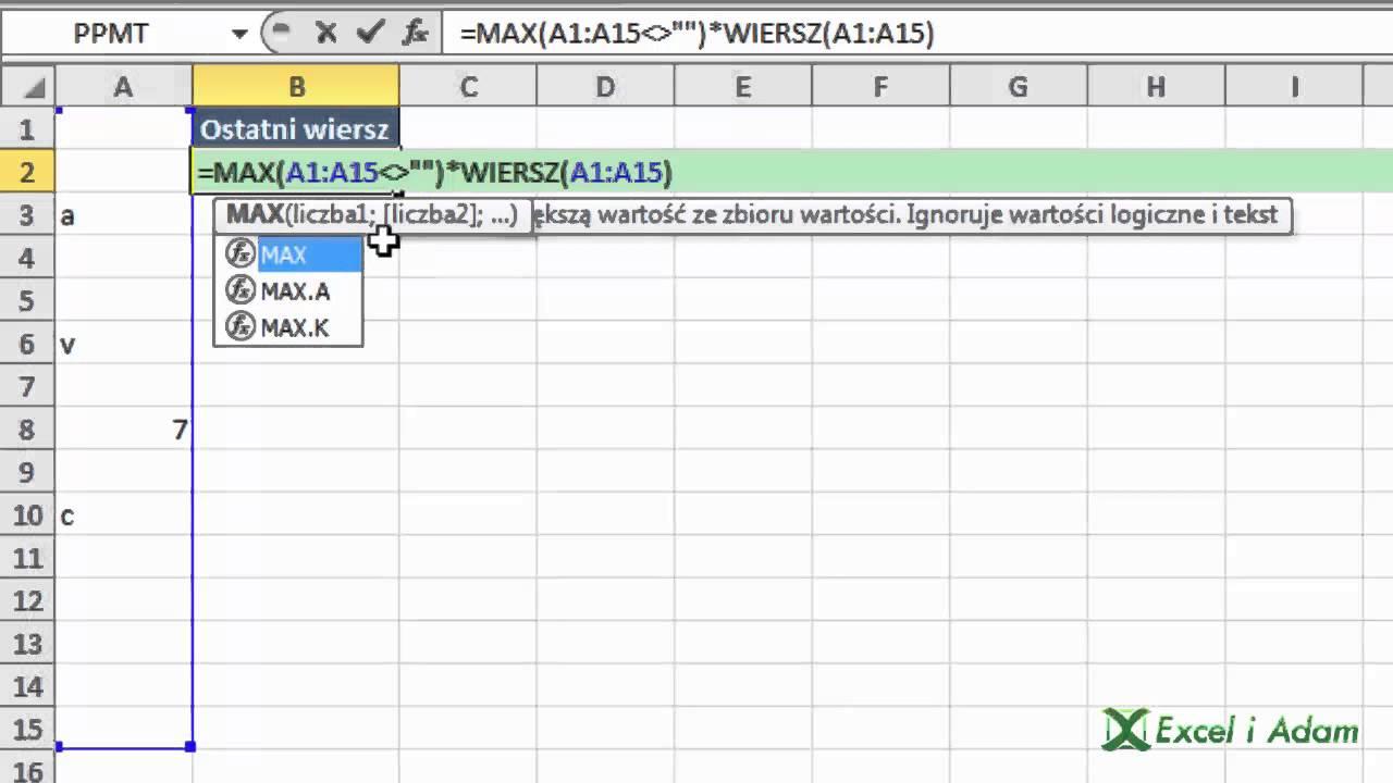 Excel Znajdź Ostatni Wypełniony Wiersz Porada 162